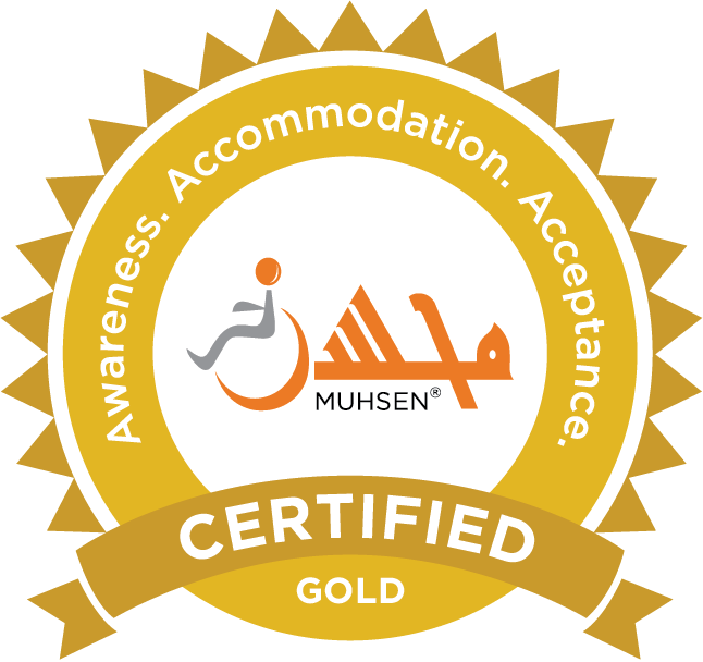 MUHSEN seal indicating that a masjid is certified Gold in terms of awareness, accommodation, and acceptance.
