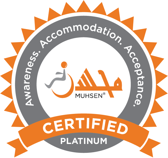 MUHSEN seal indicating that a masjid is certified Platinum in terms of awareness, accommodation, and acceptance.