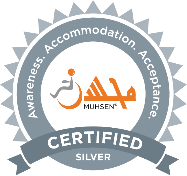 MUHSEN seal indicating that a masjid is certified Silver in terms of awareness, accommodation, and acceptance.