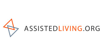 White background. Text reads assistedliving.org. To the right is a logo with an orange and blue triangle overlapping.